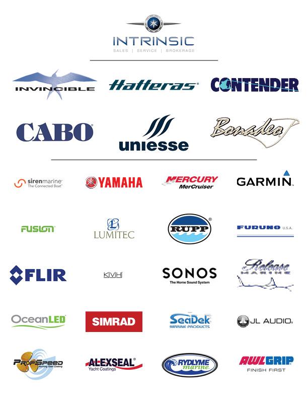 Intrinsic Yacht Logo, Yamaha, Mercury, Garmin logo